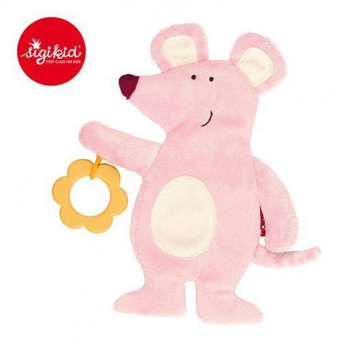 aktywizujący przytulaczek - komforter myszka z gryzakiem i szeleszczącą folią marki Sigikid