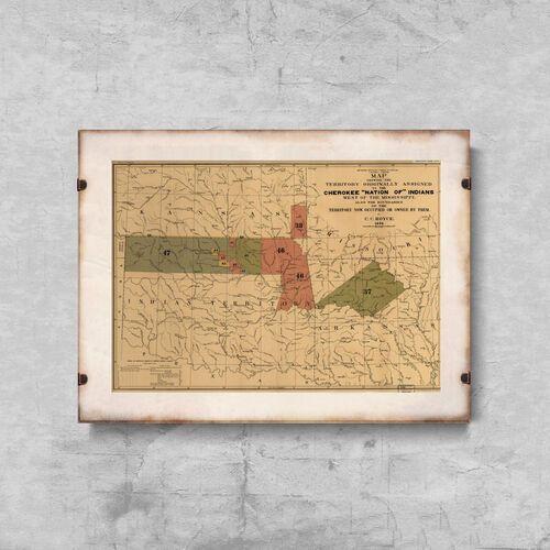 Vintageposteria.pl Plakatyw stylu retro plakatyw stylu retro stara mapa narodu indian cherokee