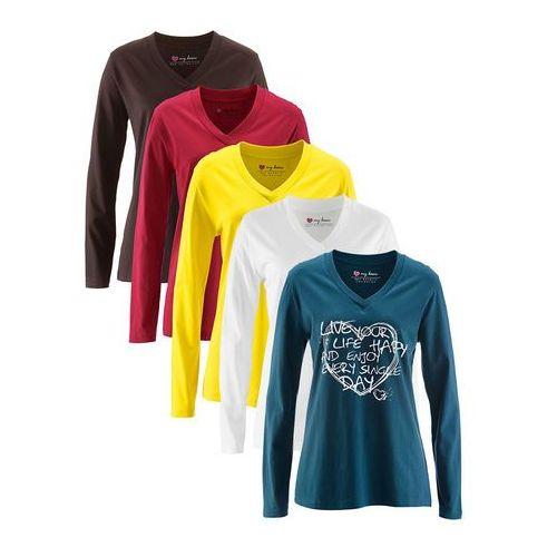 Długi shirt z dekoltem w serek (5 szt.), długi rękaw bonprix niebieskozielony z nadrukiem + ciemnobrązowy +biały + ciemnoczerwony + żółty narcyz, kolor niebieski