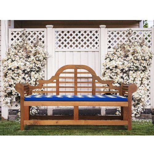 Beliani Ławka ogrodowa drewniana 180 cm poducha niebiesko-biała java marlboro