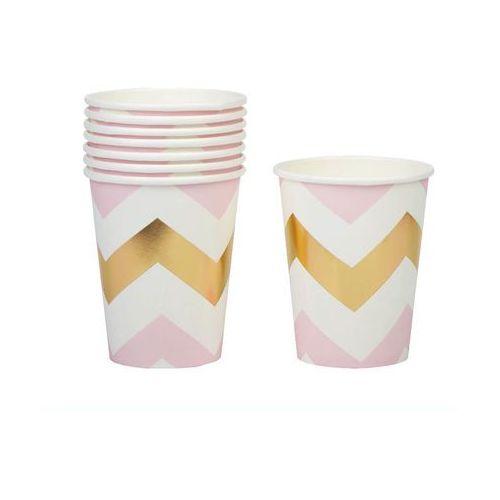 Kubeczki papierowe Zygzaki różowe - 220 ml - 8 szt.