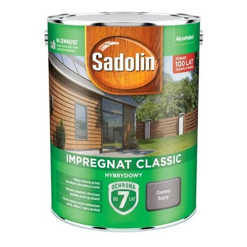 Impregnat do drewna Sadolin Hybrydowy ciemny szary 4,5 l