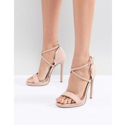 metallic detail barely there heeled sandals - pink, River island