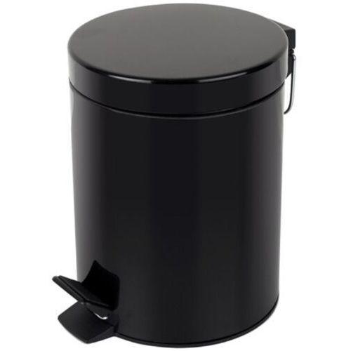Linea Kosz na śmieci 12l stal nierdzewna czarny kosz na odpadki czarny otwierany przyciskiem nożnym