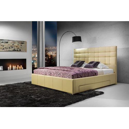 suita a - tapicerowane łóżko (skóra naturalna-dolaro) 180x200 cm marki Dlaspania
