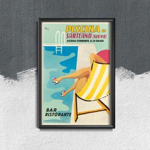 Vintageposteria.pl Plakaty w stylu retro plakaty w stylu retro włochy piscina di sarteano