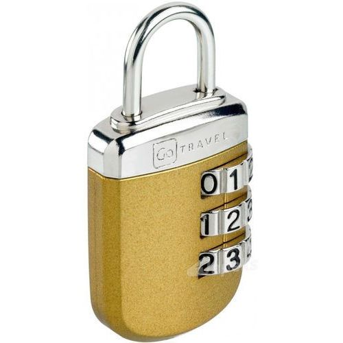 Go Travel DG/334 kłódka z zamkiem szyfrowym - stalowa - większe tarcze numeryczne - złoty (5016326003347)