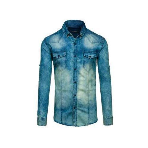 Koszula męska jeansowa z długim rękawem granatowo-szara Denley 0895, kolor niebieski