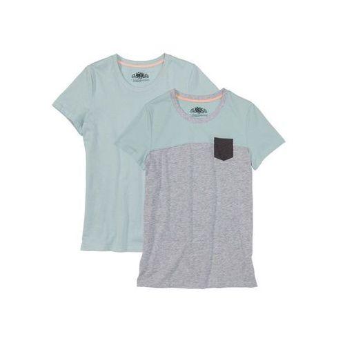Bonprix Shirt z krótkim rękawem (2 szt.) jasnoszary melanż - jasny miętowy