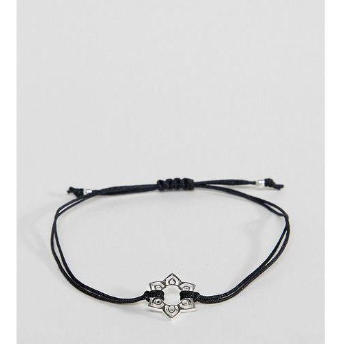 ASOS DESIGN Sterling Silver Chakra Charm Cord Bracelet - Silver, kolor szary