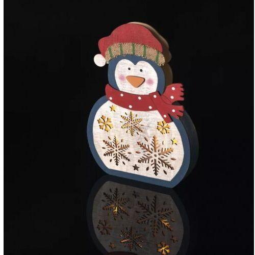 Dekoracje- 5 LED drewniany pingwin 3D 30 cm, 2x AAA WW,timer ZY2332, ZY2332