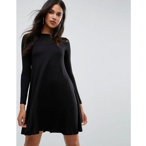 Boohoo Scoop Neck Long Sleeve Swing Dress - Black