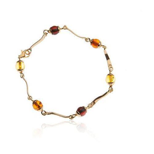 Biżuteria z bursztynem Piękna srebrna bransoletka z kolorowym bursztynem, kolor pomarańczowy