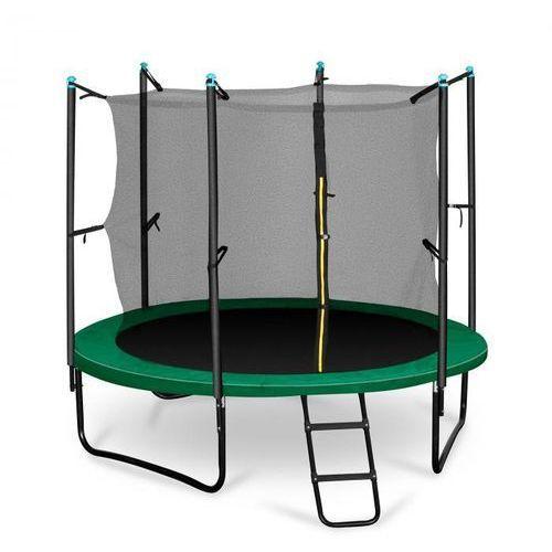 rocketstart 250 trampolina 250cm siatka bezpieczeństwa wewnątrz, szeroka drabinka, zielona marki Klarfit