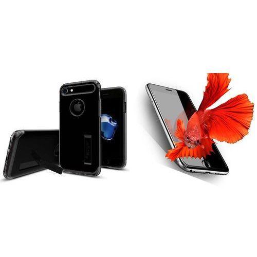 Zestaw | spigen sgp slim armor jet black | obudowa + szkło ochronne perfect glass dla modelu apple iphone 7 marki Sgp - spigen / perfect glass