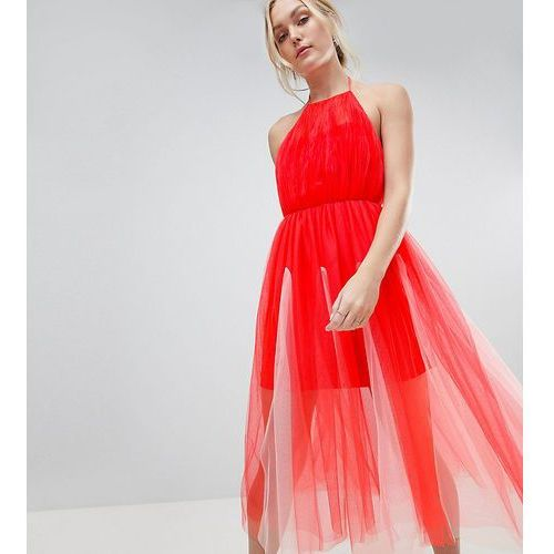 ASOS DESIGN Tall premium halter tulle godet midi dress - Pink, kolor różowy