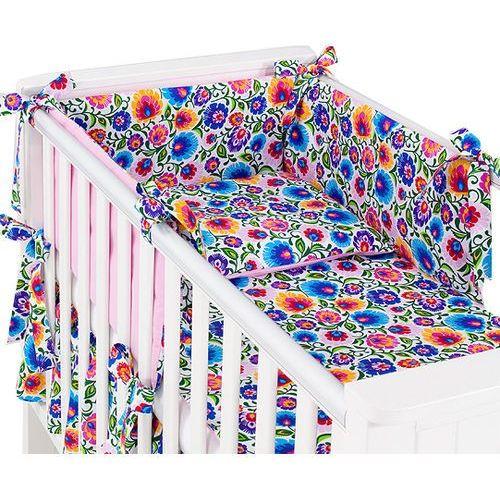 Mamo-tato dwustronna rozbieralna pościel 3-el łowicz / róż do łóżeczka 60x120cm