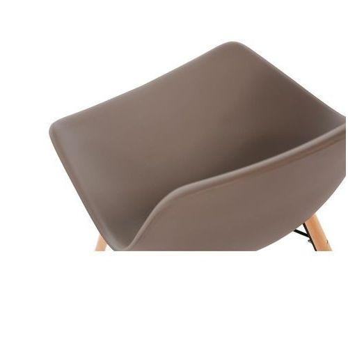 Krzesła polipropylenowe | brązowe | drewniane nogi | 2 szt. marki Bolero
