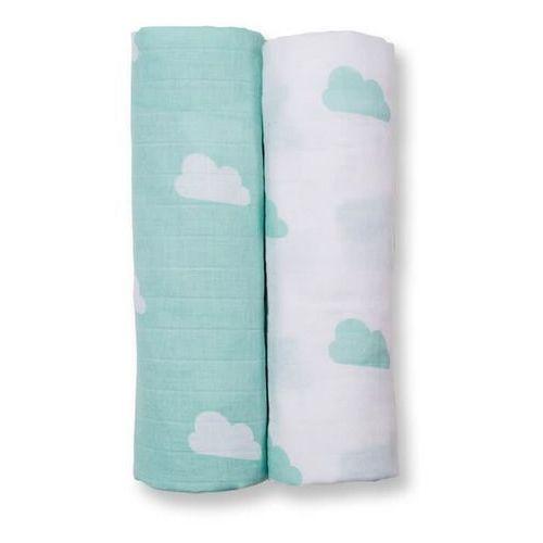 otulacz muślinowy 2szt aqua clouds marki Lulujo