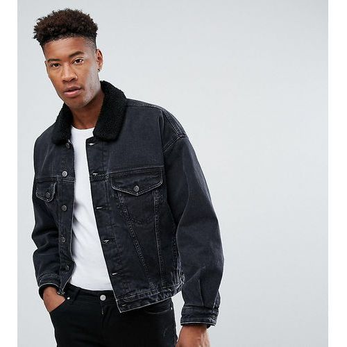 ASOS DESIGN tall oversized denim jacket with borg collar in washed black - Black