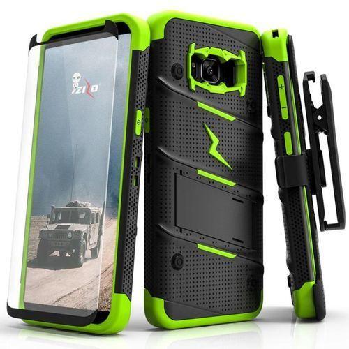 Zizo Bolt Cover Etui Pancerne Samsung Galaxy S8 (Black/Neon Black) + Szkło Hartowane Na Ekran, kolor czarny
