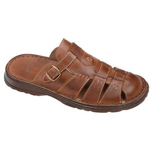 Klapki buty ŁUKBUT 962 Brązowe - Brązowy