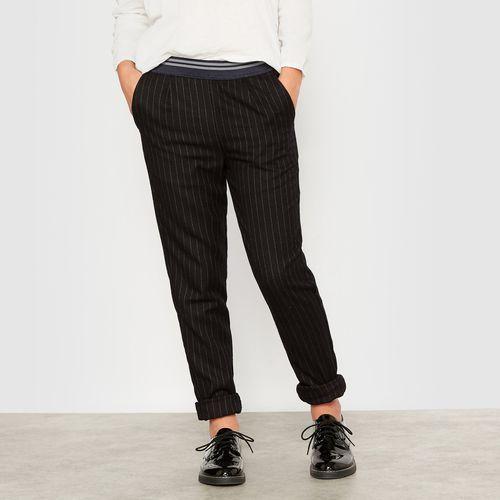 Zwiewne spodnie w paski z materiału przypominającego wełnę 10-16 lat
