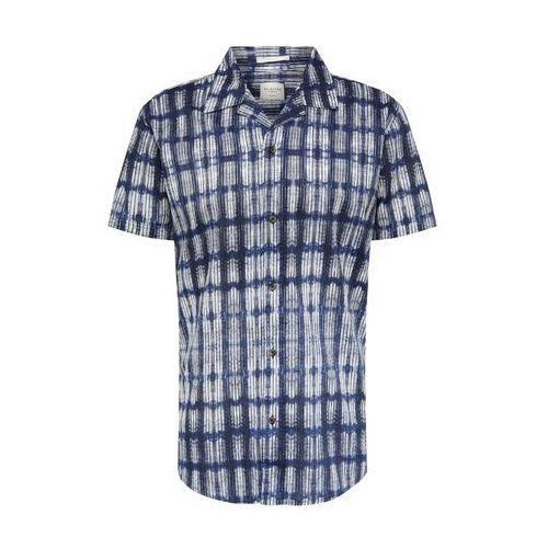 koszula 'slhslimtokyo shirt ss aop w camp' ciemny niebieski / biały, Selected homme, S-XXL