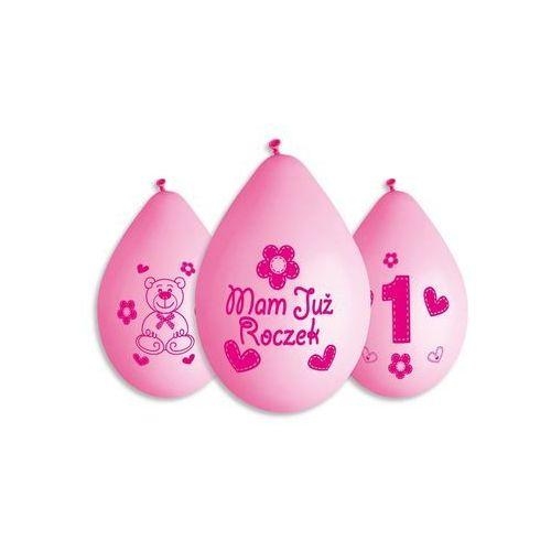 Balony z nadrukiem mam już roczek różowe - 30 cm - 5 szt. marki Go