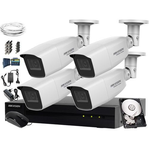 System monitoringu biura, firmy, parkingu Hikvision Hiwatch HWD-7104MH-G2, 4 x HWT-B340-VF, 1TB, Akcesoria