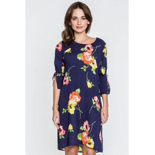 Granatowa sukienka z kwiatowym motywem - marki Jelonek