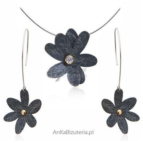 Biżuteria artystyczna Komplet biżuterii srebrny, kolor szary