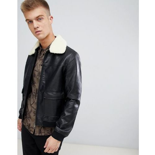 Another Influence Faux Leather Faux Fur Collar Bomber Jacket - Black