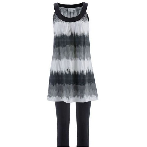 Sukienka + legginsy rybaczki (2 części) czarno-biały z nadrukiem + czarny, Bonprix, 32-42