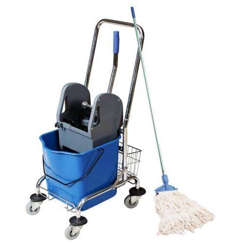 Wózek do mycia podłóg jednowiaderkowy z koszykiem prasą i mopem sznurkowym wózek porządkowy z mopem marki Clean