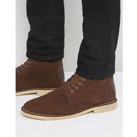 desert boots in brown suede with leather detail - brown marki Asos
