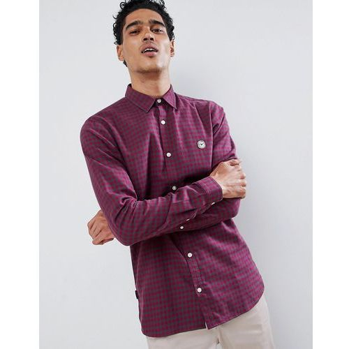 flannel longline check shirt - red, Le breve, S-XXL