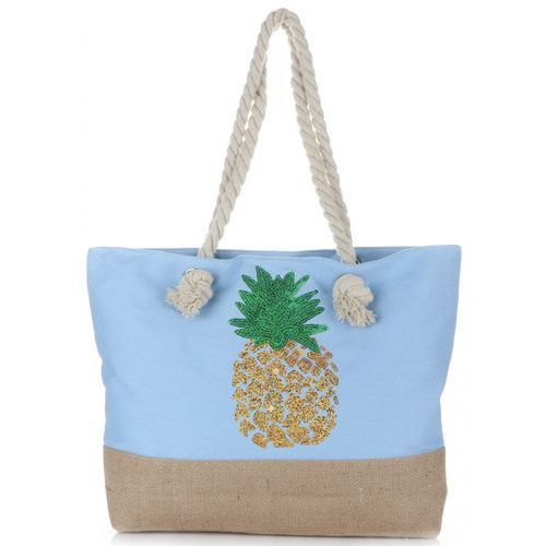 Modna Plażowa Torba Damska Ananas Błękitna (kolory), kolor niebieski