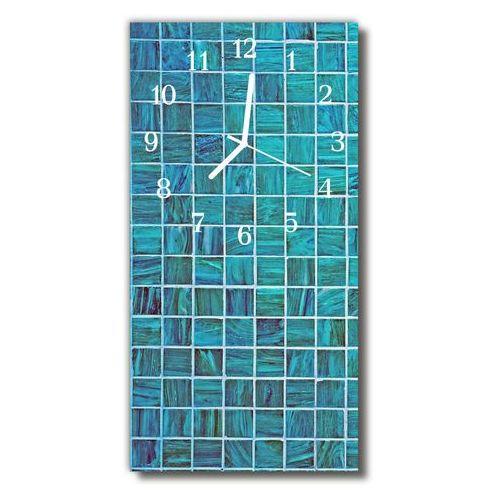 Zegar Szklany Pionowy Kostka Niebieskie płytki niebieski