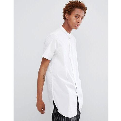 ASOS DESIGN Regular Fit Super Longline Shirt In White With Grandad Collar - White