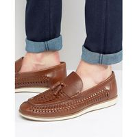 woven tassel loafers in black leather - brown, Red tape