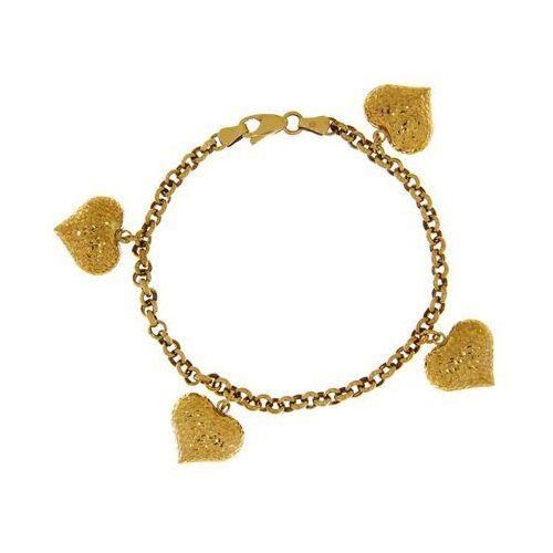 Bransoletka złota serca, kolor żółty
