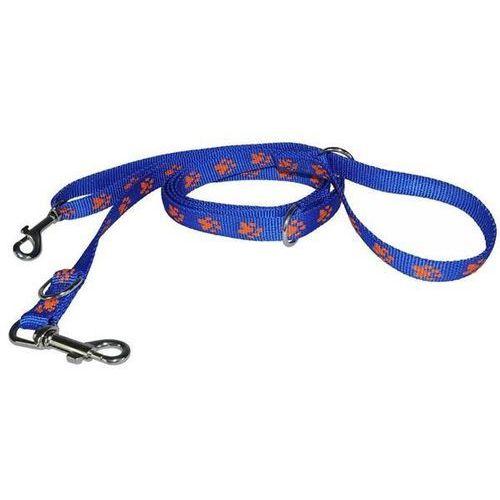Chaba smycz taśmowa regulowana kolor: niebieski w pomarańczowe łapki 25mm / 270cm (5905133609791)