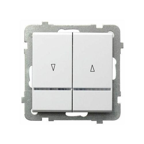 Przełącznik żaluzjowy Ospel Sonata ŁP-7RBS/M/00 podtynkowy podświetlany z blokadą mechaniczną biały (5907577479008)