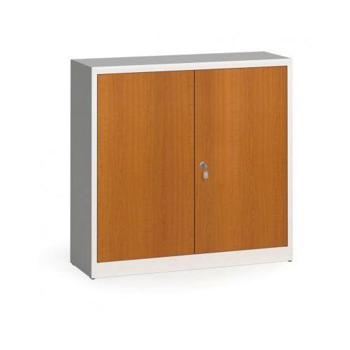 Szafy spawane z laminowanymi drzwiami, 1150 x 1200 x 400 mm, RAL 7035/czereśnia