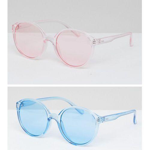 2 pack plastic round sunglasses in coloured lens - multi marki Asos