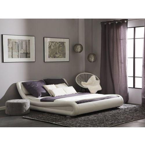 Łóżko wodne śnieżnobiałe skóra ekologiczna 180 x 200 cm AVIGNON, kolor biały