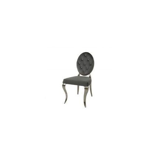 Krzesło glamour Leonardo Dark Grey - nowoczesne krzesła pikowane kryształkami (5908273396781)