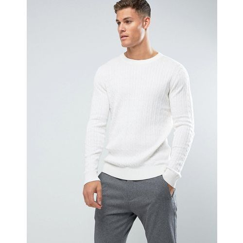 Selected Homme Knitted Jumper With Cable Knit Detail In 100% Cotton - Cream