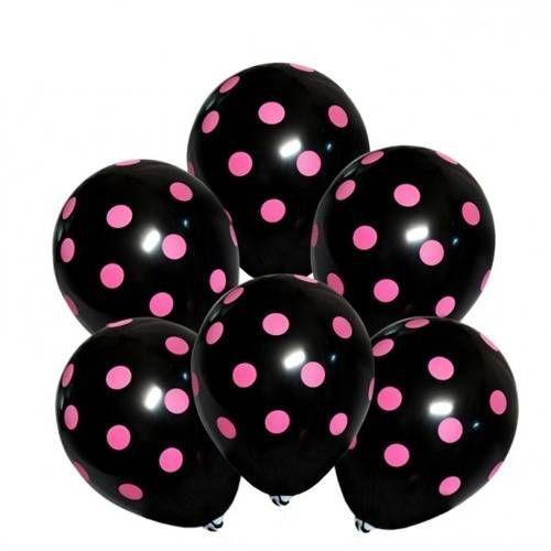 Dp Balony czarne w różowe kropki - 30 cm - 100 szt.